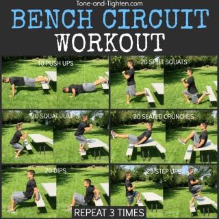 outdoor bench circuit workout tone tighten