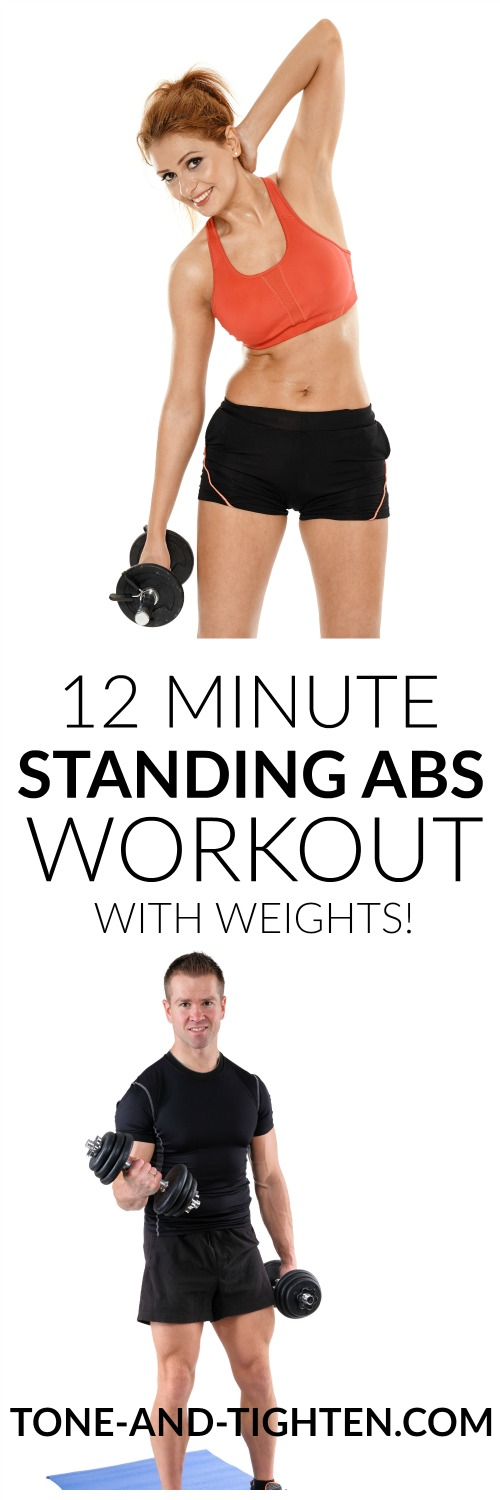 12 Minute Standing Abs Workout with Weights   Tone and Tighten