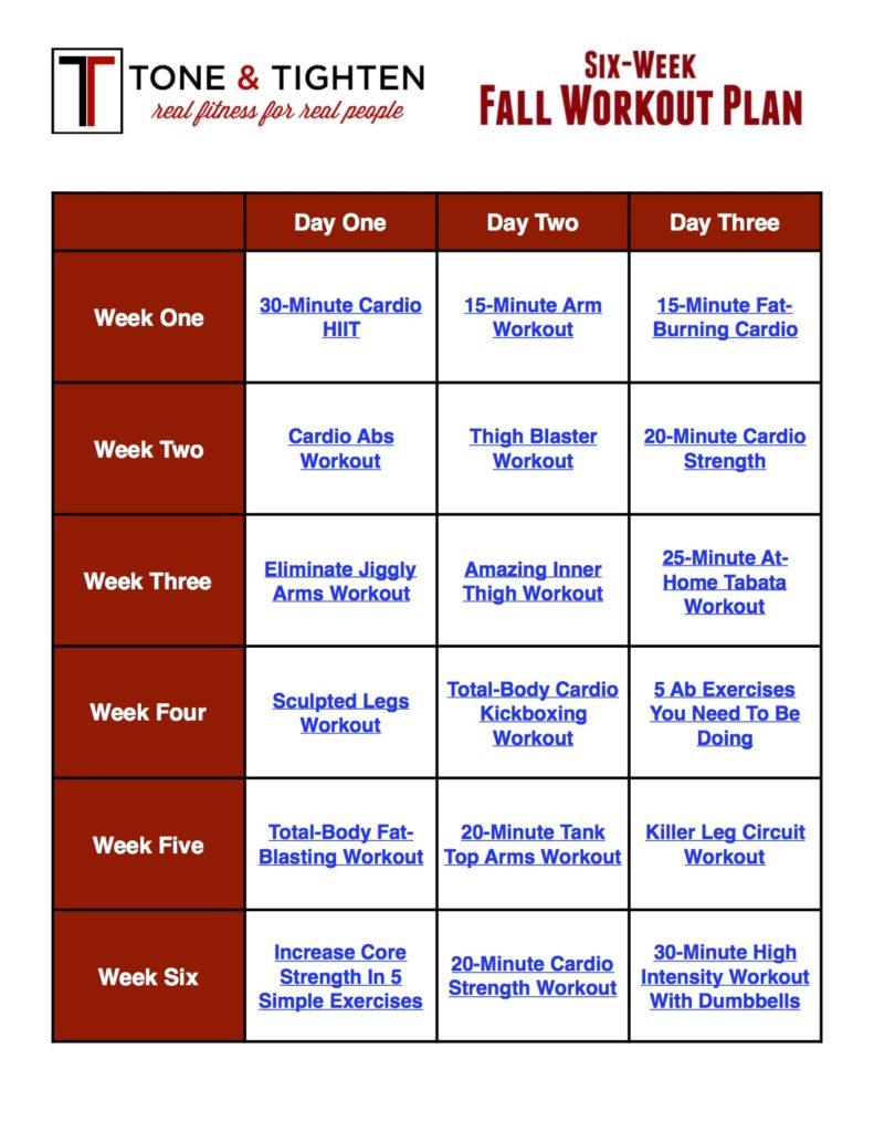 Six Week Fall Workout Plan