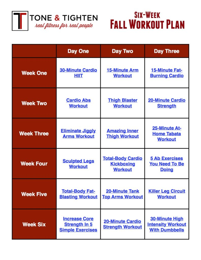 Free 6 Week Fall Workout Plan Tone And Tighten