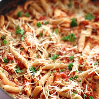rotisserie-chicken-penne-pasta-on-tone-and-tighten