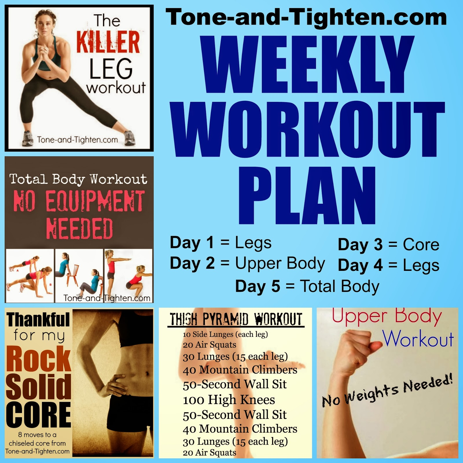 Exercise Workout Plan: Weekly Workout Plan – Body Shred From Toe To Head!
