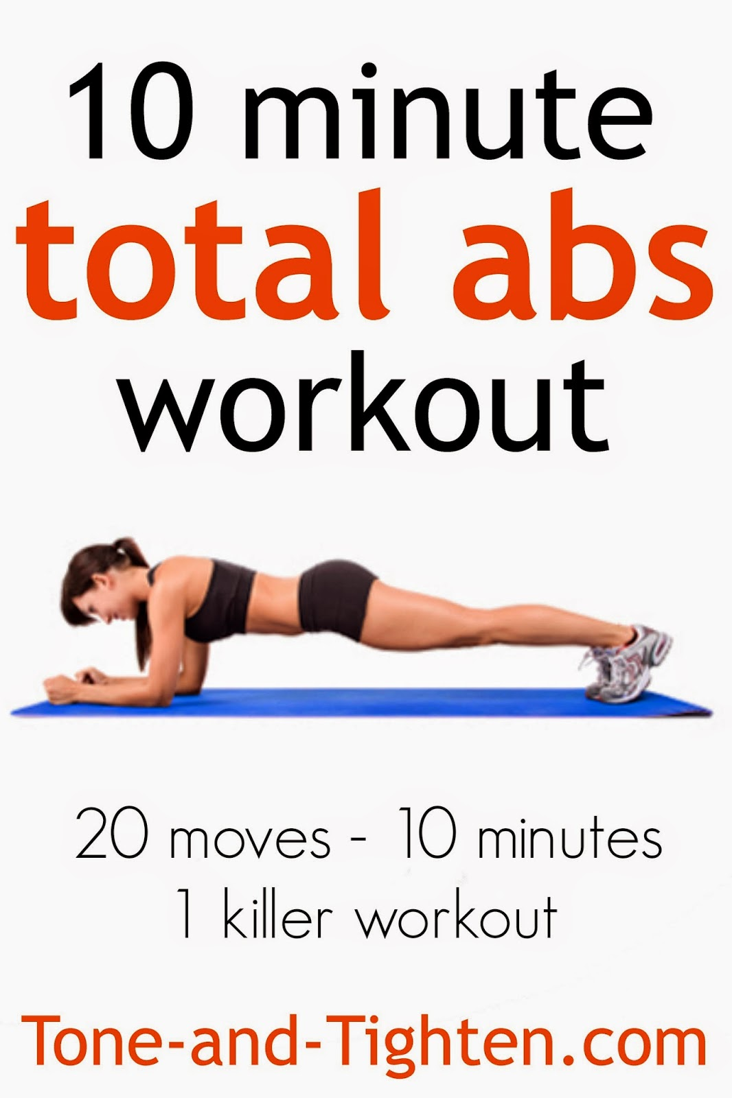 10 Minute Total Abs Workout 20 Moves In Only Minutes Tone And Tighten
