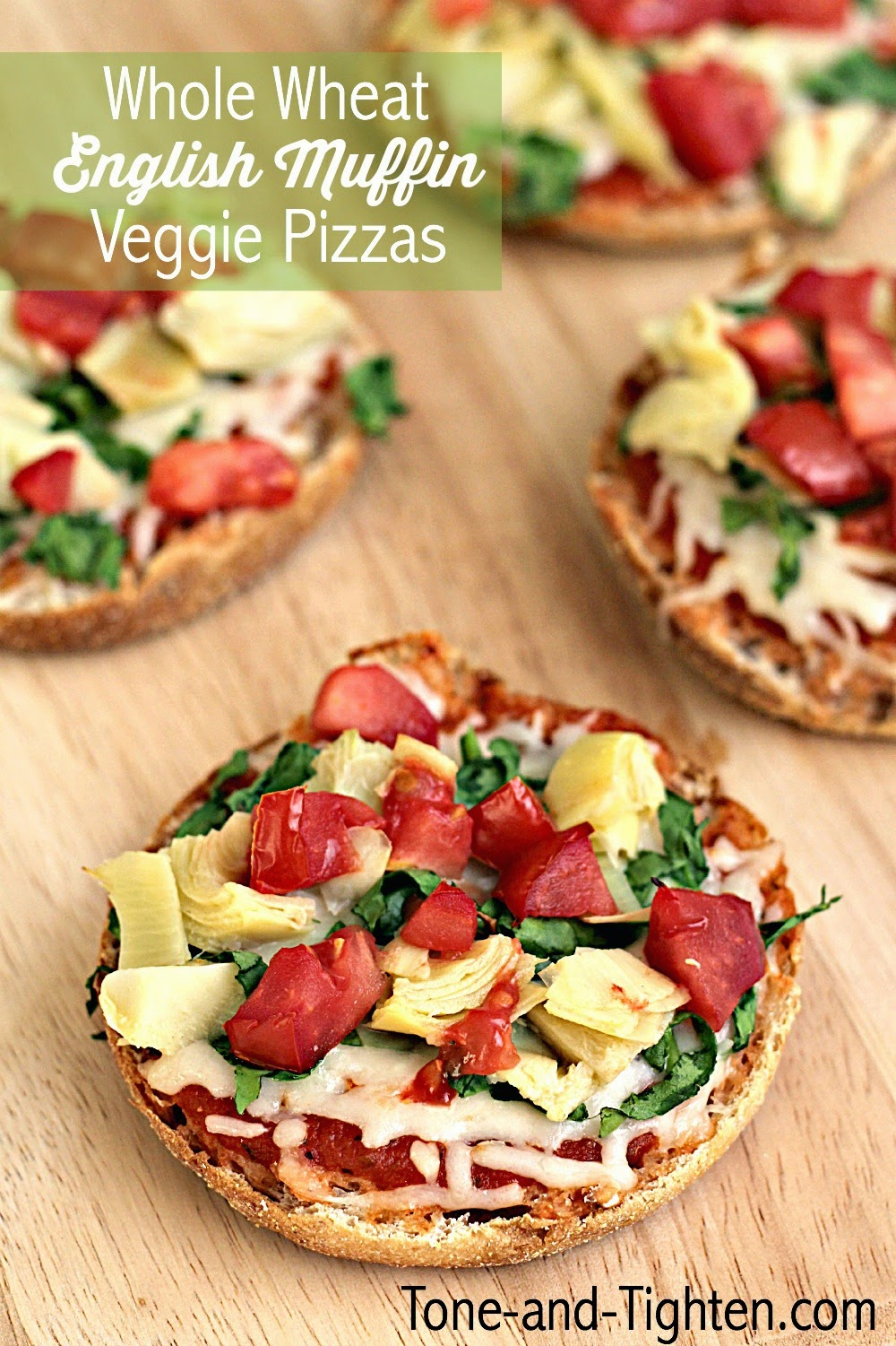 Whole wheat english muffin vegetable pizza tone and tighten eating healthy when you are short on time can sometimes be a challenge but this recipe will take care of that issue english muffin pizzas could not be forumfinder Choice Image