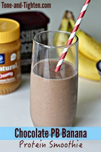 Chocolate Peanut Butter Banana Protein Smoothie Tone and Tighten