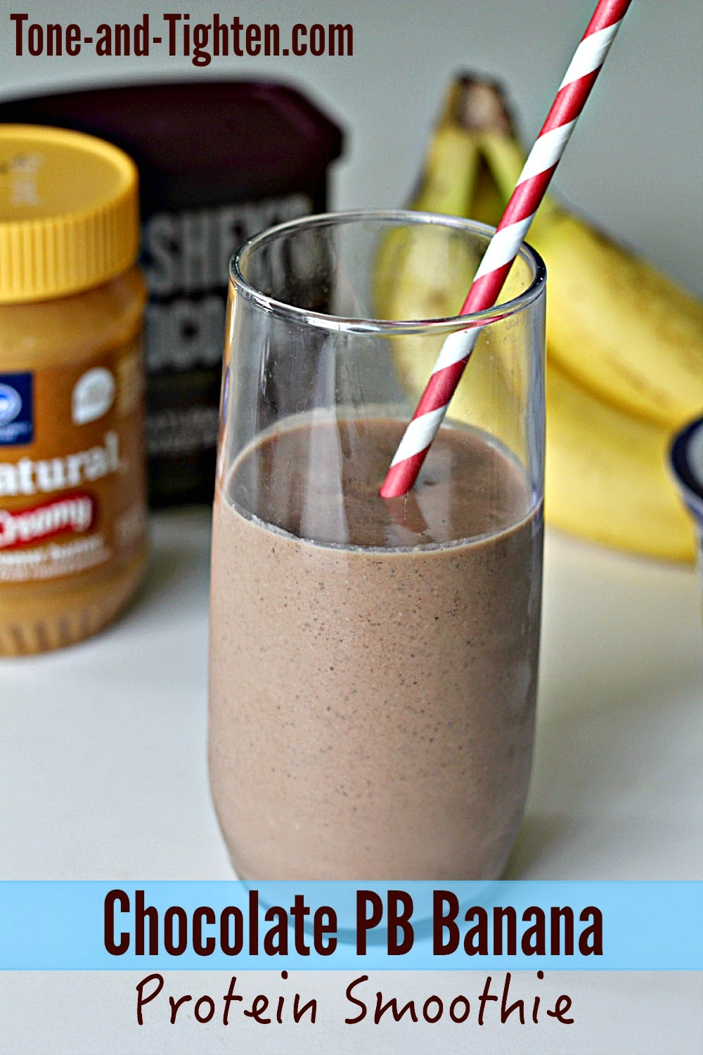 Chocolate Peanut Butter Banana Protein Smoothie Recipe (Fitness ...