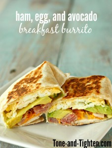 ham egg and avocado breakfast burrito tone and tighten