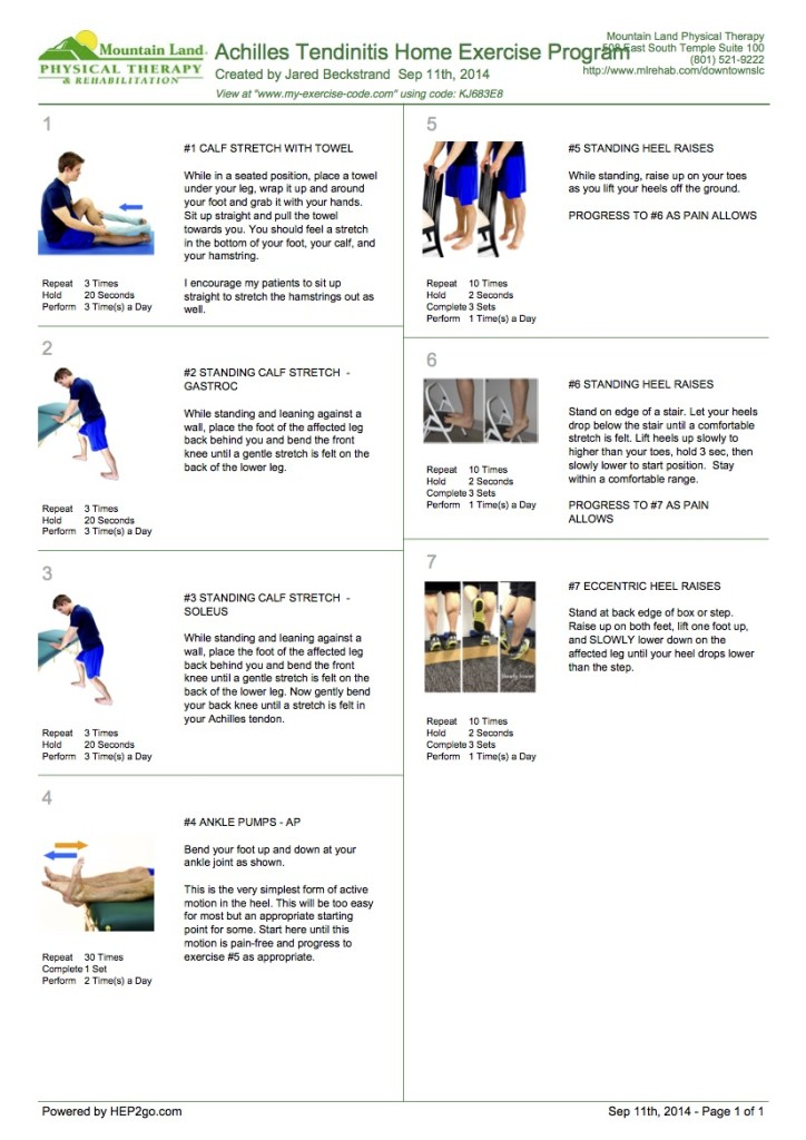 Achilles tendinitis home exercise program