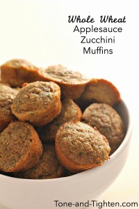 Whole wheat applesauce zucchni muffins