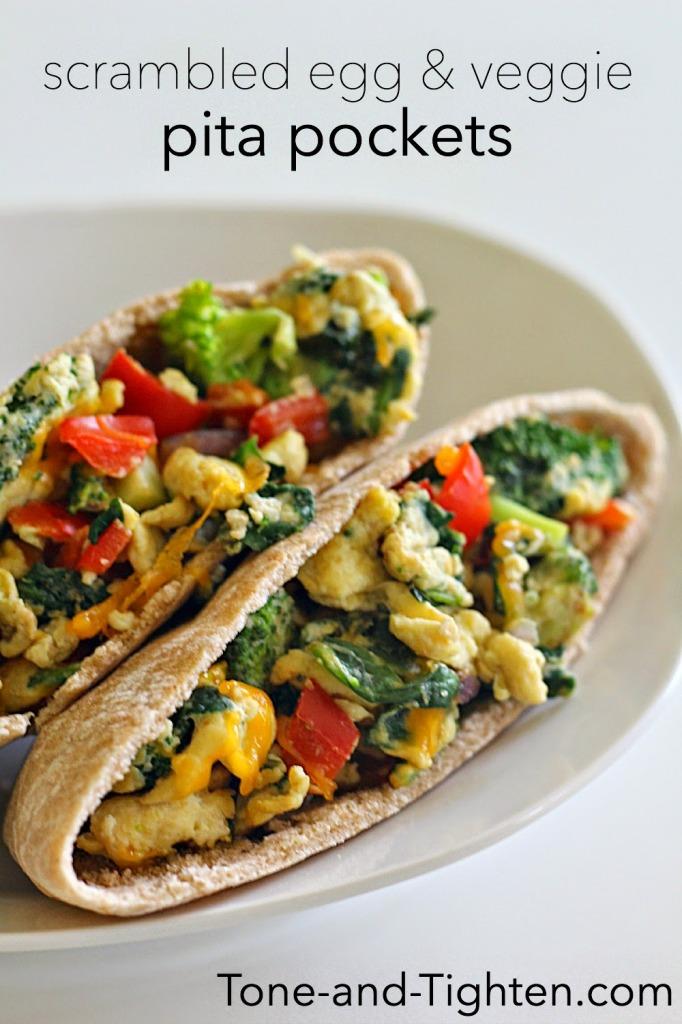 scrambled egg and veggie pita pockets Tone-and-Tighten