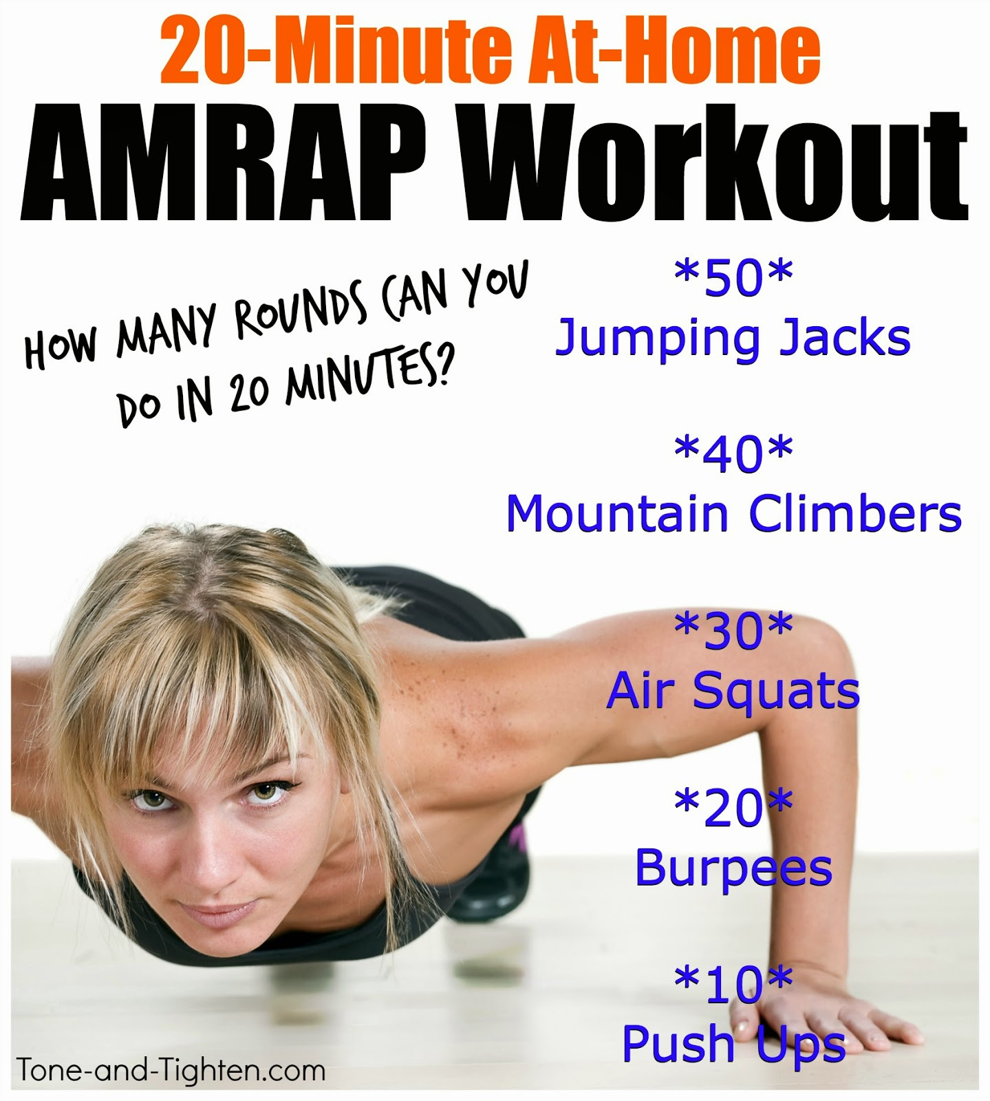 Quick Total Body At Home Workout 20 Minute Amrap Cardio And Strength Training