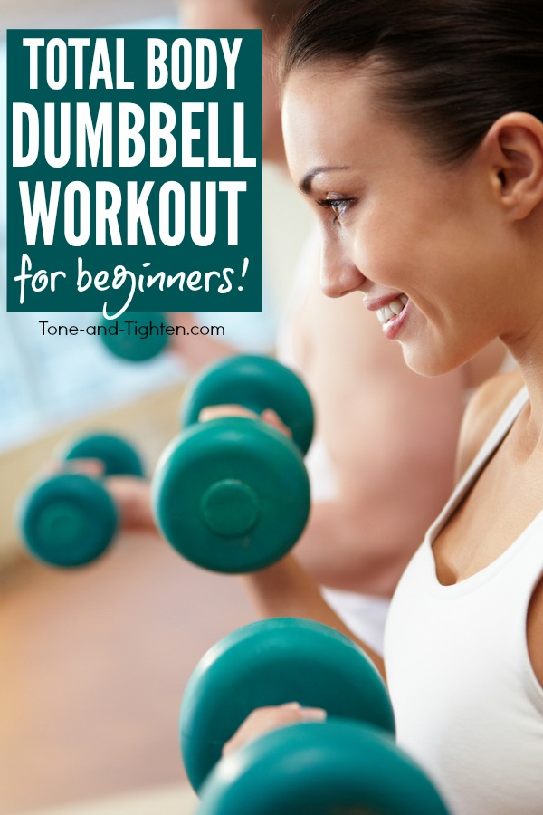 Beginner dumbbell workout you can do at home! Free weight strength training exercises from Tone-and-Tighten.com