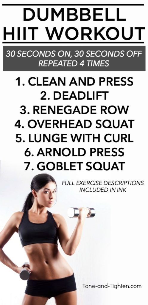30-minute at-home dumbbell HIIT workout. Strength intervals from Tone-and-Tighten.com