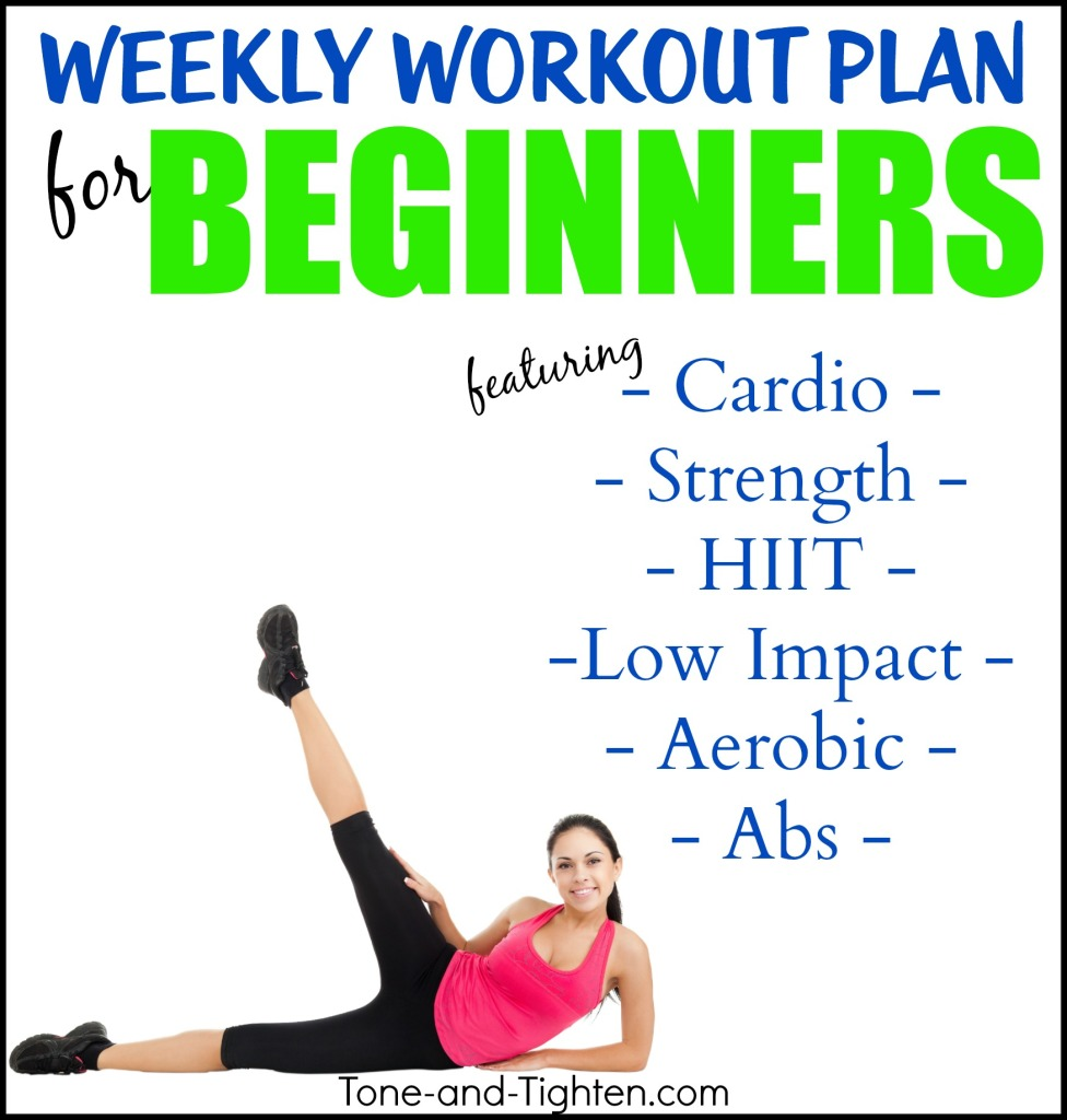 weekly workout plan for beginners tone and tighten