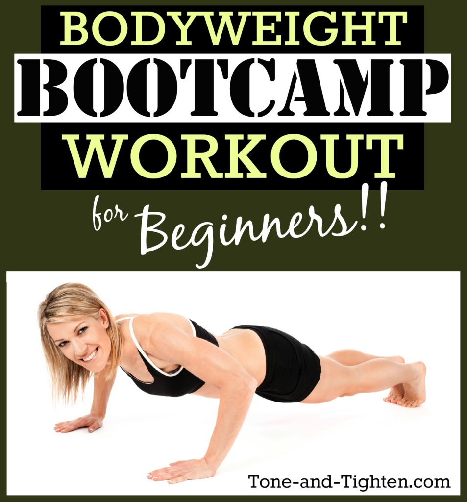 bodyweight bootcamp workout for beginners video tone and tighten