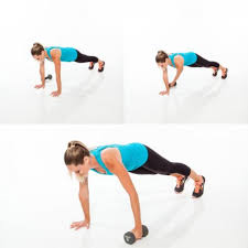plank dumbbell pull through