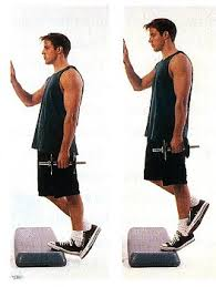 single leg heel raise dumbbell