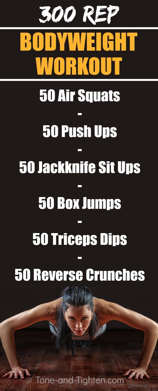 300 rep bodyweight workout pinterest