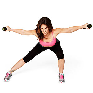 Side lunge deltoid raise
