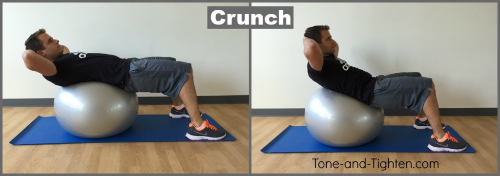exercise swiss ball crunch ab tone tighten