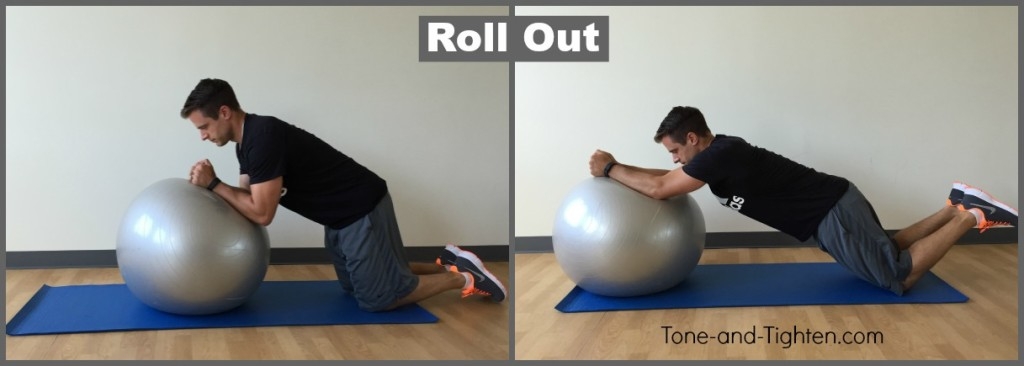exercise swiss ball roll out ab exercise tone tighten