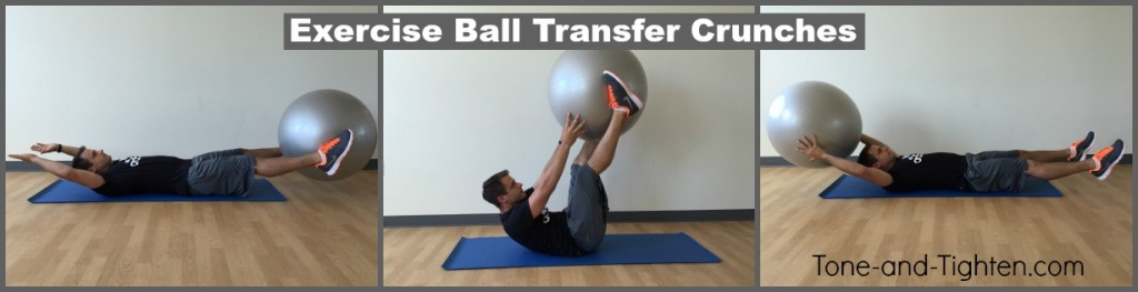 exercise swiss ball transfer crunch tone tighten