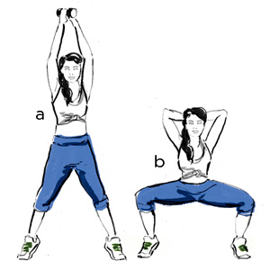 plie squat with triceps extension