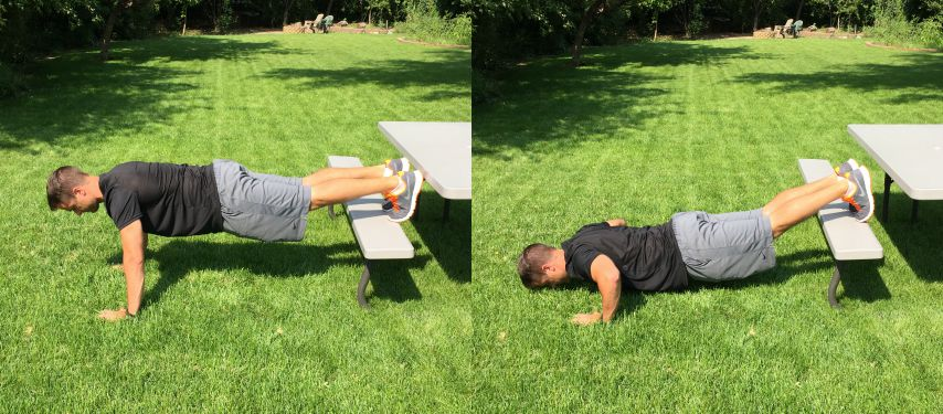 advanced bench push ups tone tighten
