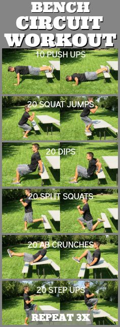 bench outdoor circuit workout tone tighten