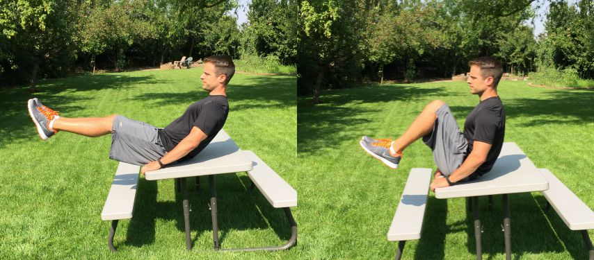 bench seated ab crunch