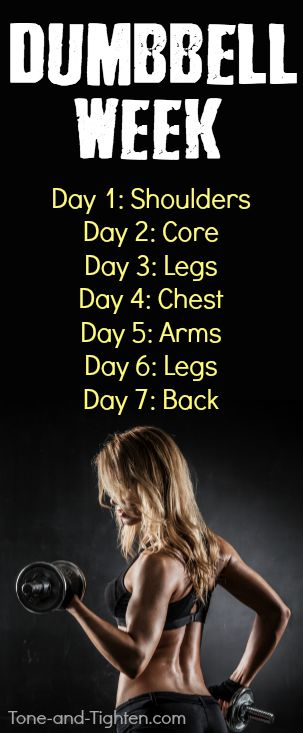 dumbbell workout week pinterest