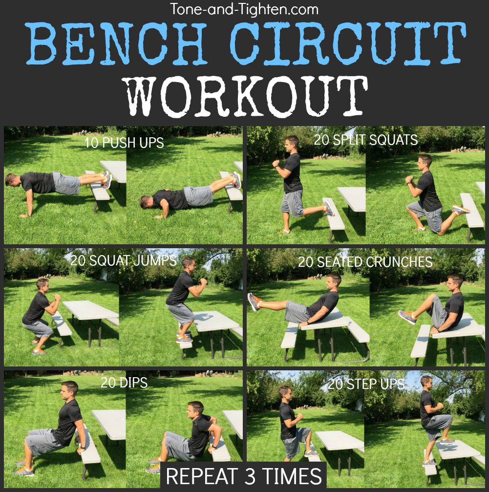outdoor bench circuit workout tone tighten