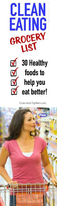 clean eating grocery list pinterest