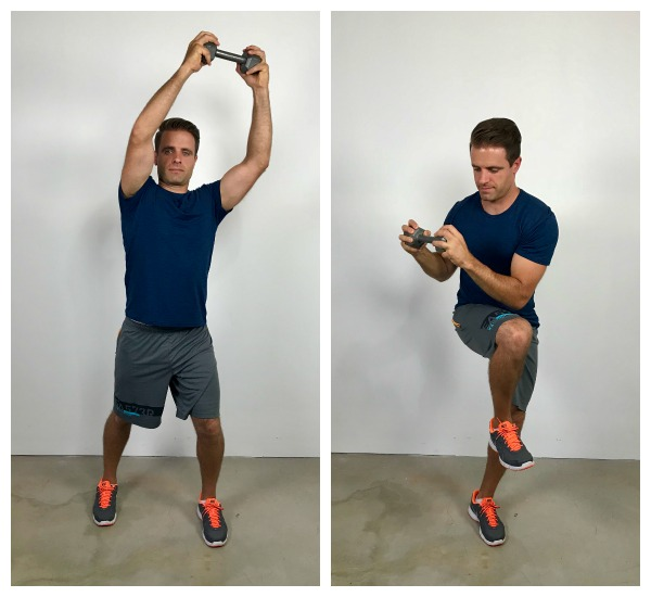 Rotating dumbbell crunch standing abs exercise