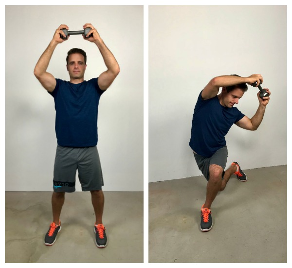 curtsy overhead bend standing abs exercise