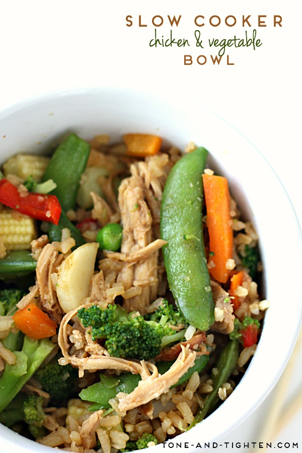 Slow Cooker Teriyaki Chicken and Vegetable Bowl on Tone-and-Tighten.com