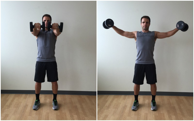 dumbbell forward to lateral raise