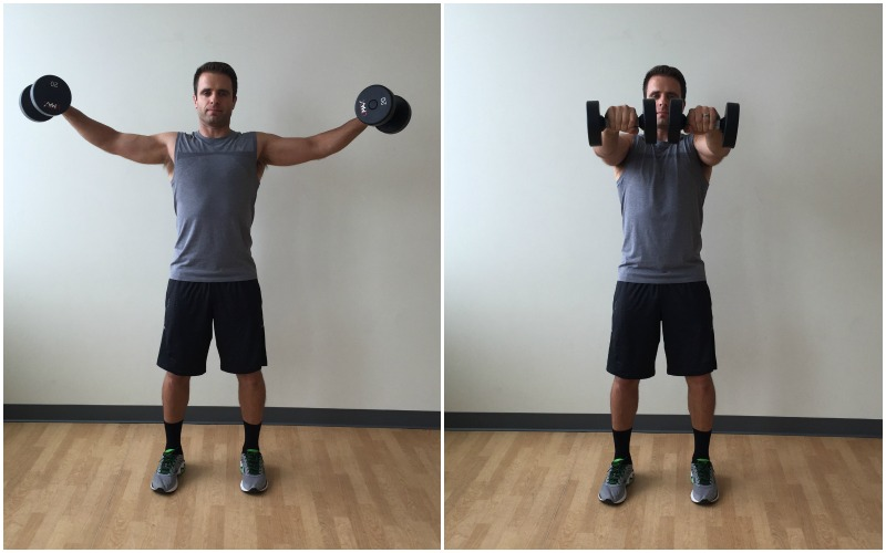 dumbbell lateral to forward raise