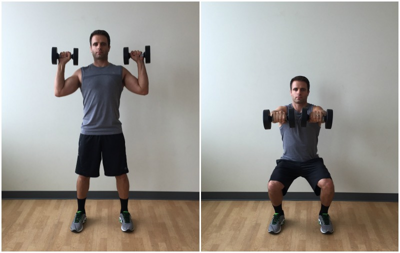 dumbbell squat horizontal press