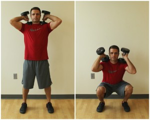dumbbell squats shoulders