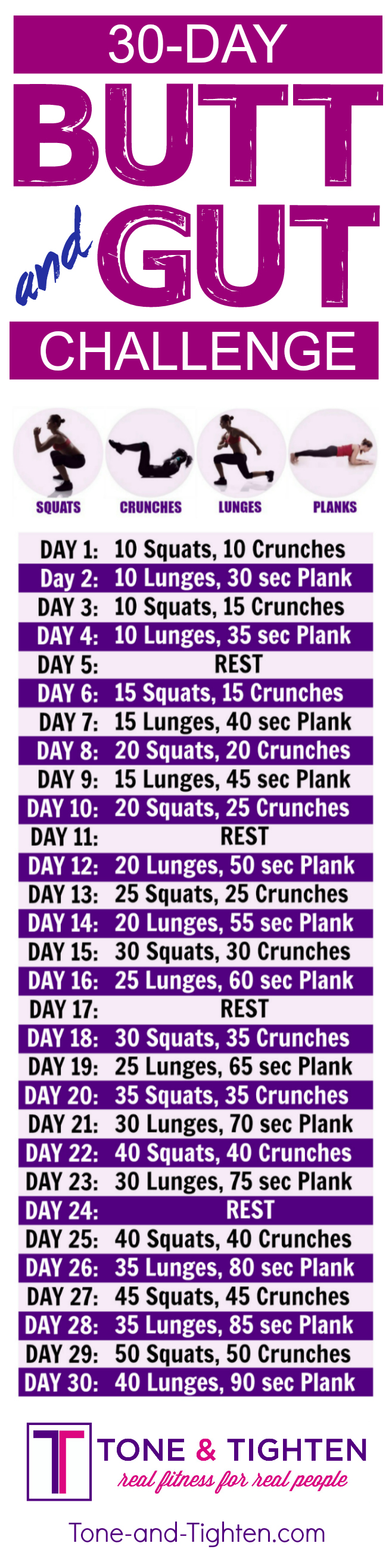 30-Day butt and abs workout challenge you can do from home! CLICK THE LINK FOR VIDEO INSTRUCTION OF EXERCISES! From Tone-and-Tighten.com