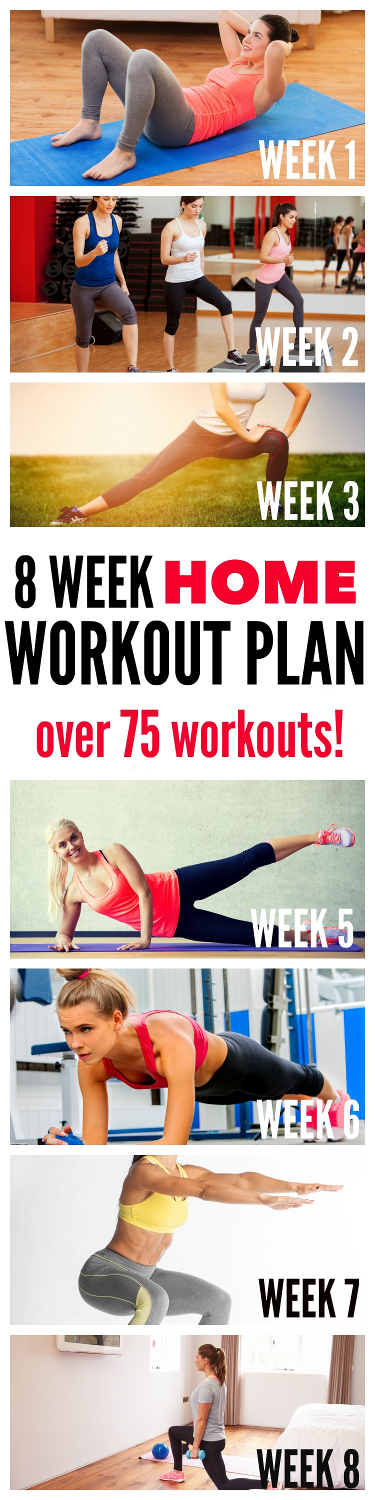 8 Week Home Workout Plan - 75 workouts