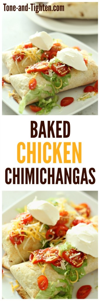 Baked Chicken Chimichangas from Tone-and-Tighten