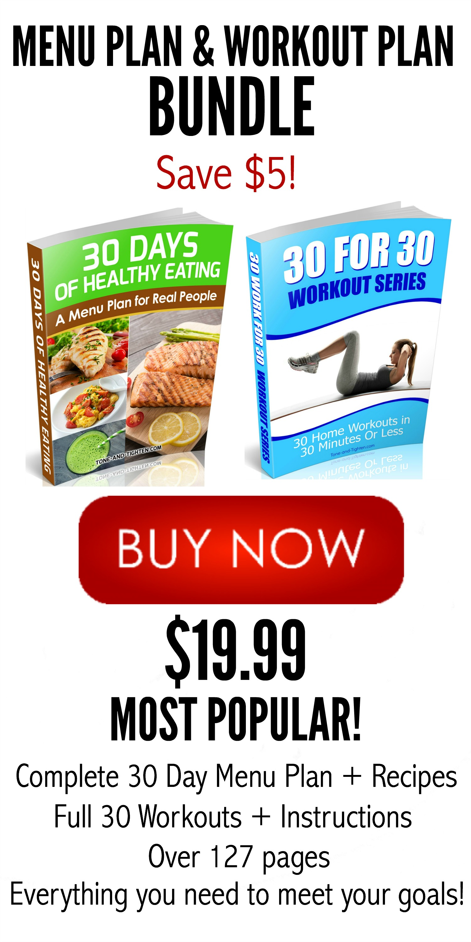Menu Plan and Workout Plan Bundle