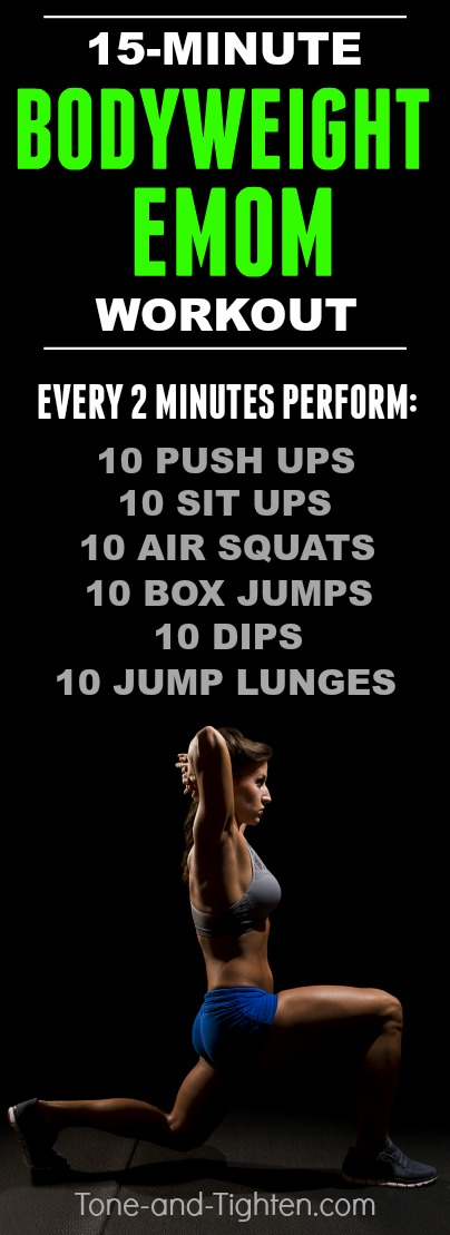 15-Minute bodyweight EMOM you can do at-home with no equipment required! Click for more details including videos of the exercises!