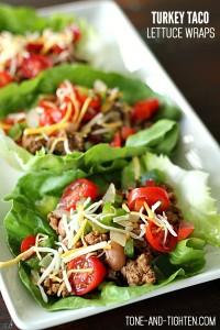 Ground Turkey Taco Lettuce Wraps on Tone-and-Tighten
