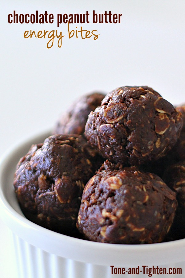 Chocolate Peanut Butter Energy Bites on Tone-and-Tighten.com