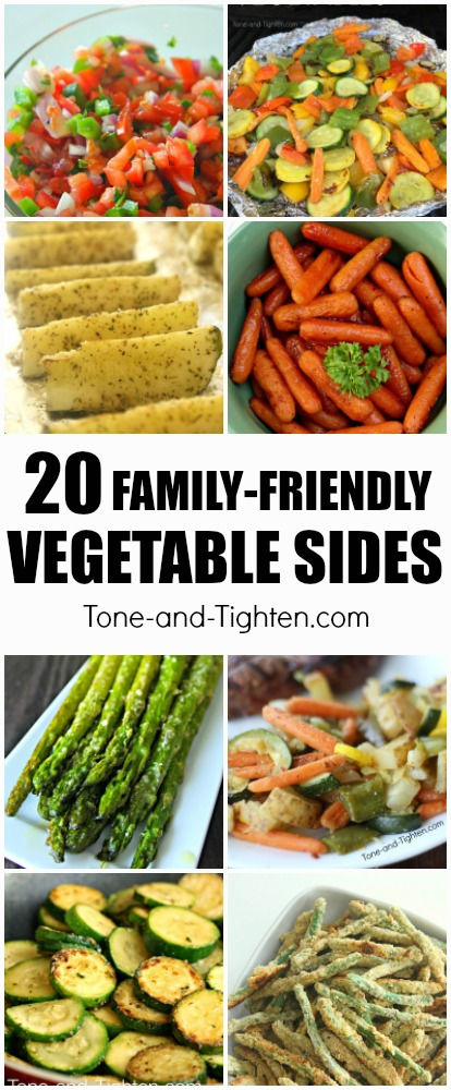Are you getting your 3 servings of veggies everyday? If you need a little help - here are 20 delicious veggie ideas your whole family will love! | Tone-and-Tighten.com