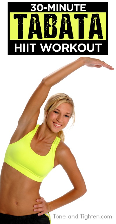 30-minute at-home HIIT cardio workout with no equipment required! Tabata-style, so you know it's gonna be good! From Tone-and-Tighten.com