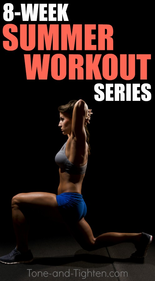 Slim down for summer with this awesome 8-week workout series! Cardio workouts to trim you down, strength training to tone you up! From Tone-and-Tighten.com